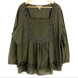 Silhouettes Peasant Babydoll Blouse Size 2X